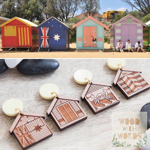 Brighton Bathing Boxes Stud Dangle Earrings - Wood With Words