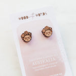 Frida Wooden Stud Earrings - Wood With Words
