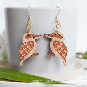 Kookaburra Wooden Dangle Earrings - Wood With Words