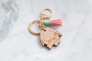 Lop Bunny Rabbit Tassel Bag Tag Keychain - Wood With Words