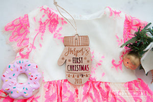 Personalised Santa's Mitt - Baby's First Christmas Ornament