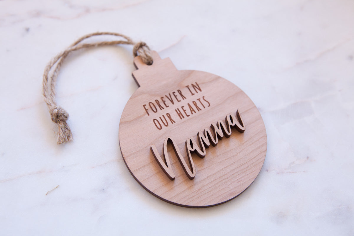 Personalised Remembrance Christmas Ornament - Wood With Words