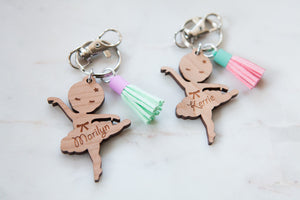 Wooden Ballerina bag tag keychain