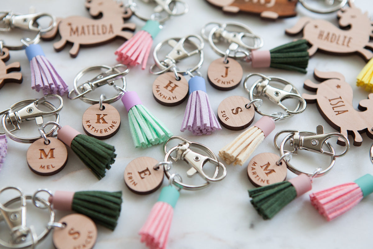 Wooden Button Keychain Keyring - Wood With Words