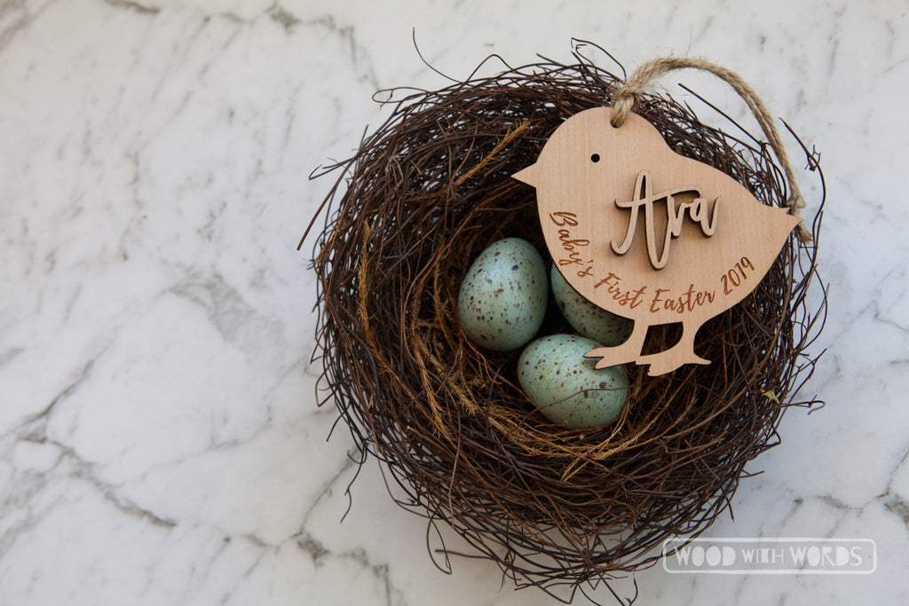 Easter Chick Wooden Ornament
