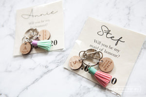 Personalised Bridesmaid Maid of Honour Wooden Button Keyring
