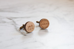 Mens Personalised Wooden Cufflinks - Wedding Date
