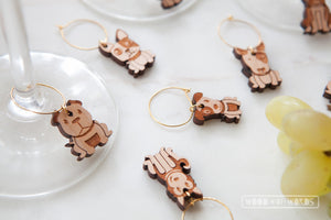 Dog Lover Wine Charms