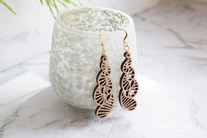 Waterdrop Wooden Dangle Earrings - Wood With Words