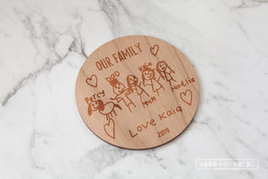 Child Artwork Etched on Wooden Plaque