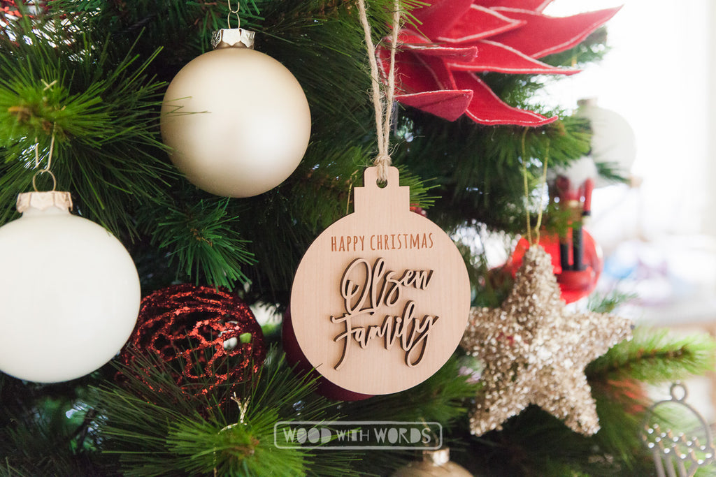 Family Plaque Ornament - Wood With Words