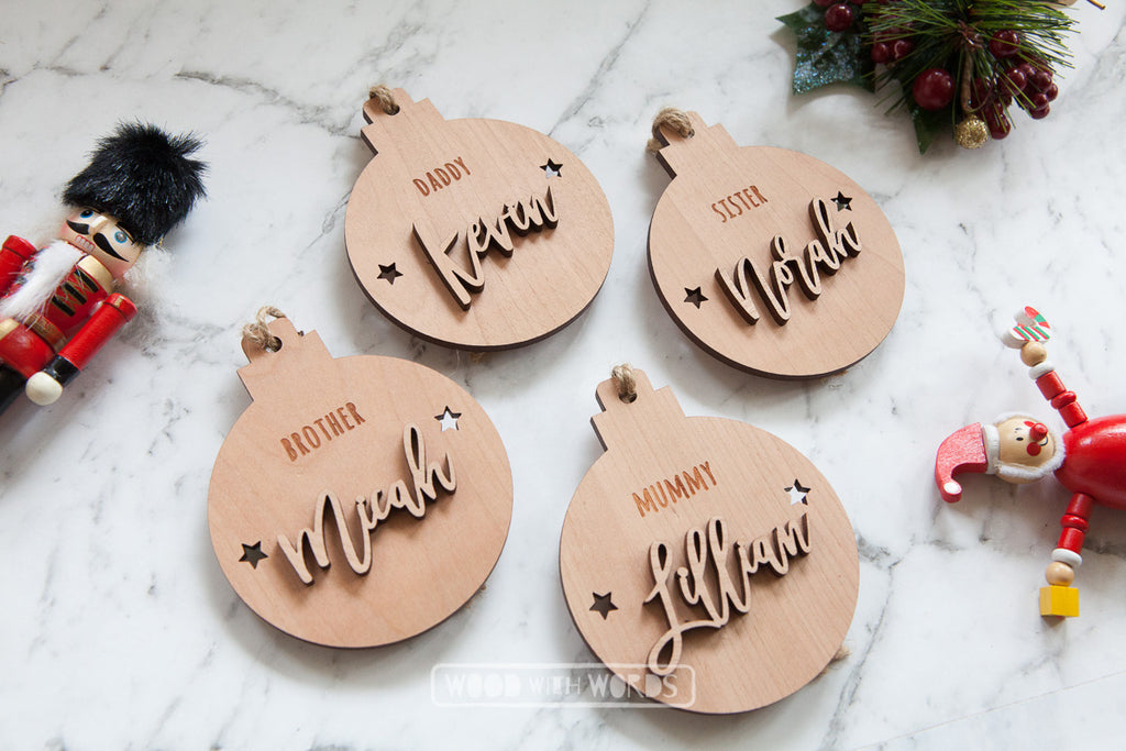Personalised Wooden Christmas Ornaments - Wood With Words
