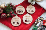 Personalised Gift Tag Set - Want, Need, Read, Wear - Wood With Words