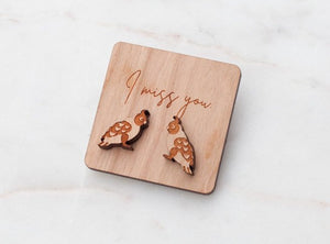 Galah wooden stud earrings on an 'I Miss You' message tag. Cute Australiana gifts.