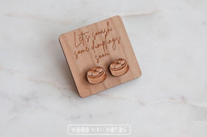 Dumplings Yumcha Wooden Stud Earrings - Wood With Words