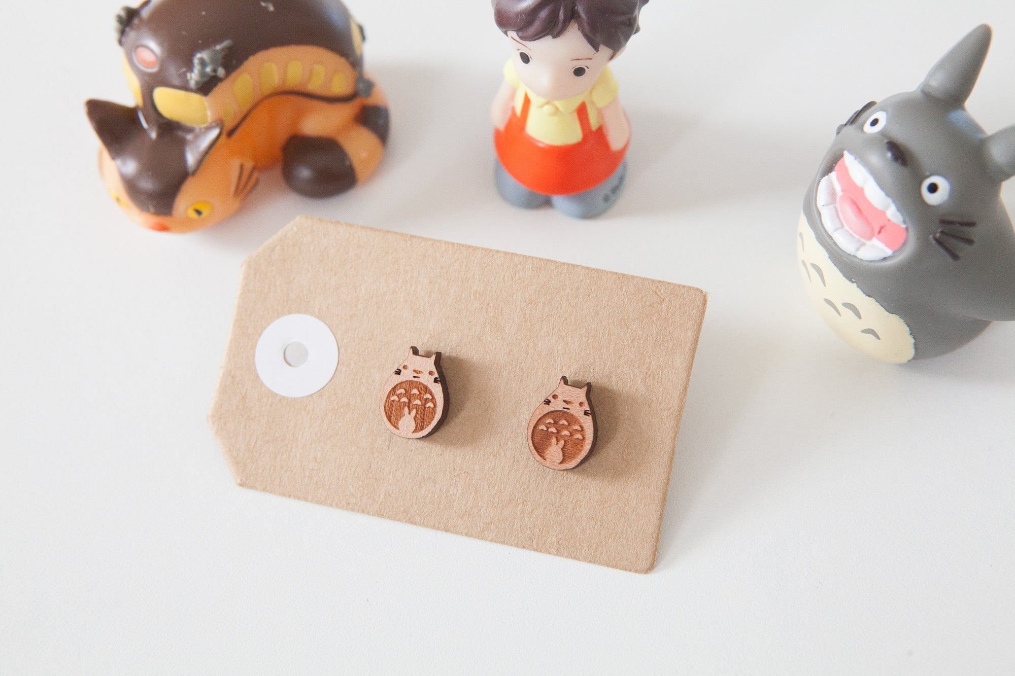 Totoro Wooden Stud Earrings - Wood With Words