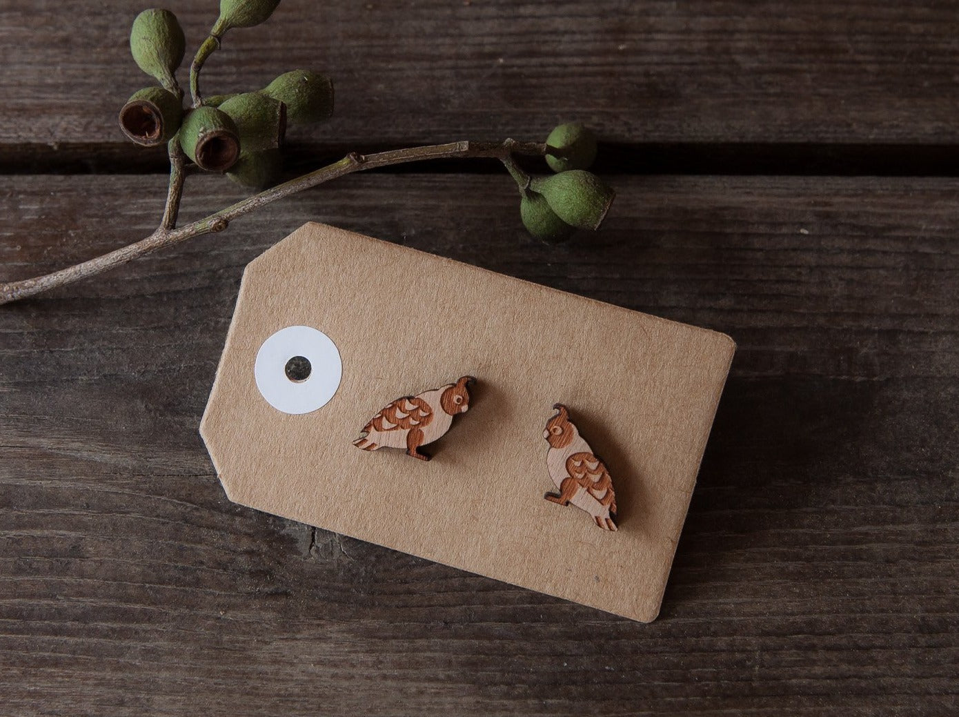 Aussie Wildlife Earrings With Thank You Tags - Wood With Words