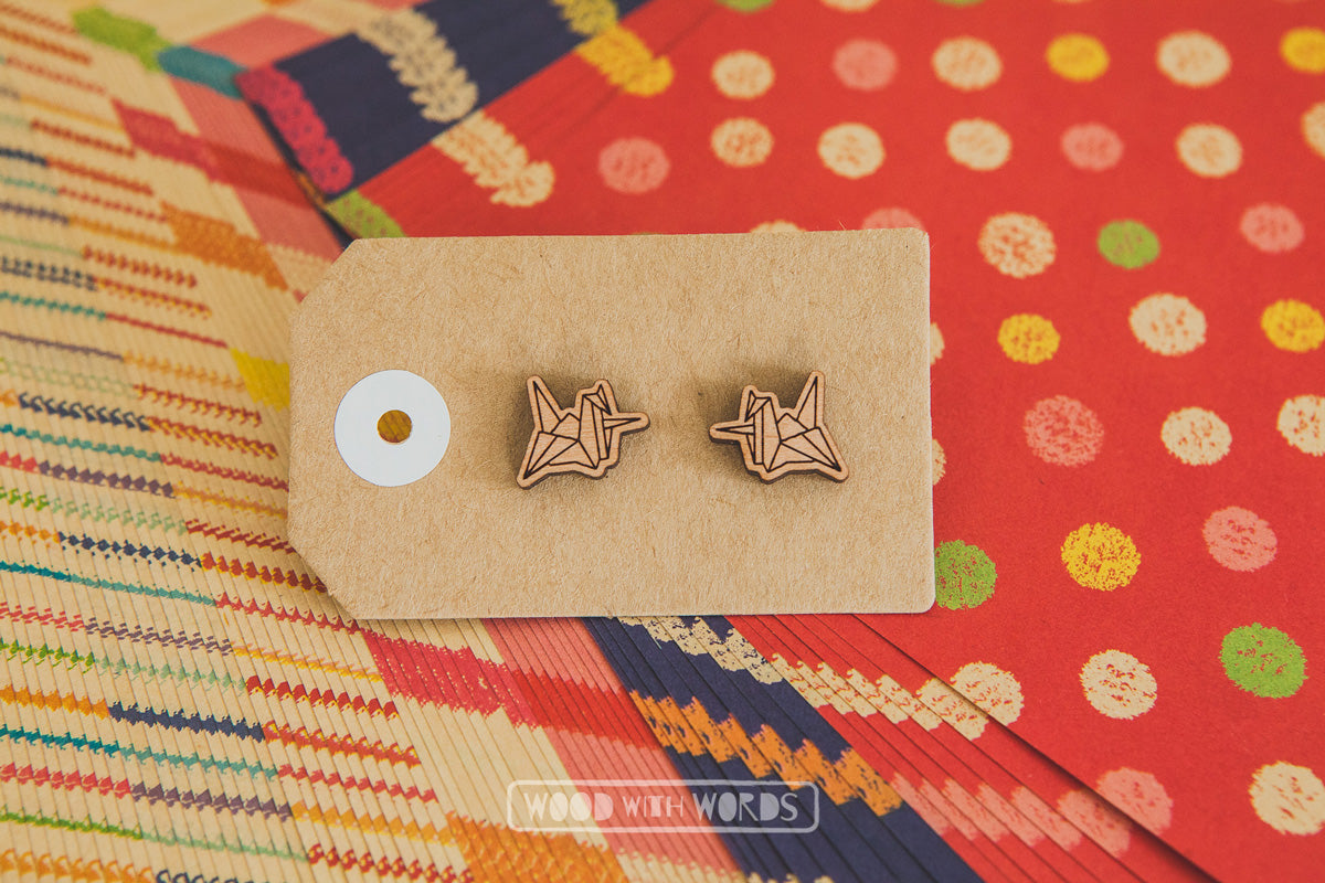 Paper Crane Wooden Stud Earrings - Wood With Words