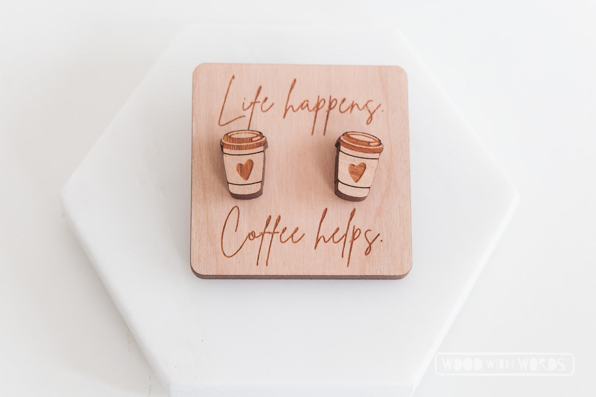 Coffee Cup Wooden Stud Earrings - Wood With Words