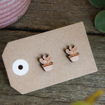 Cactus Succulent Wooden Stud Earrings - Wood With Words