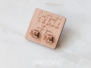 Brunch Strawberry Pancake Stack Wooden Stud Earrings - Wood With Words