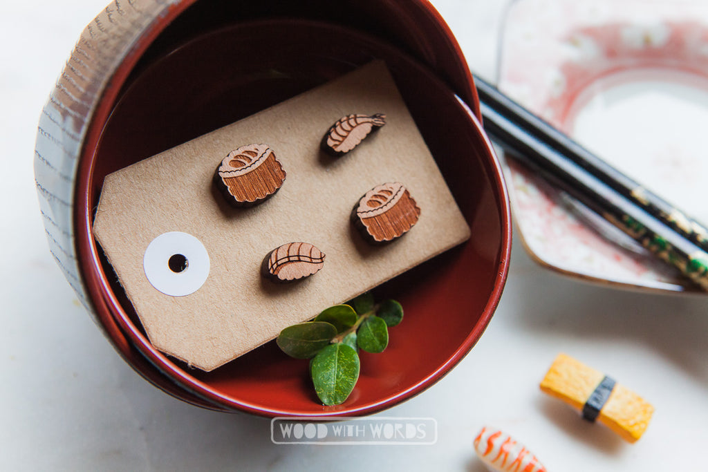 Sushi Maki Wooden Stud Earrings - Wood With Words