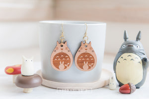 Totoro Wooden Dangle Earrings - Wood With Words