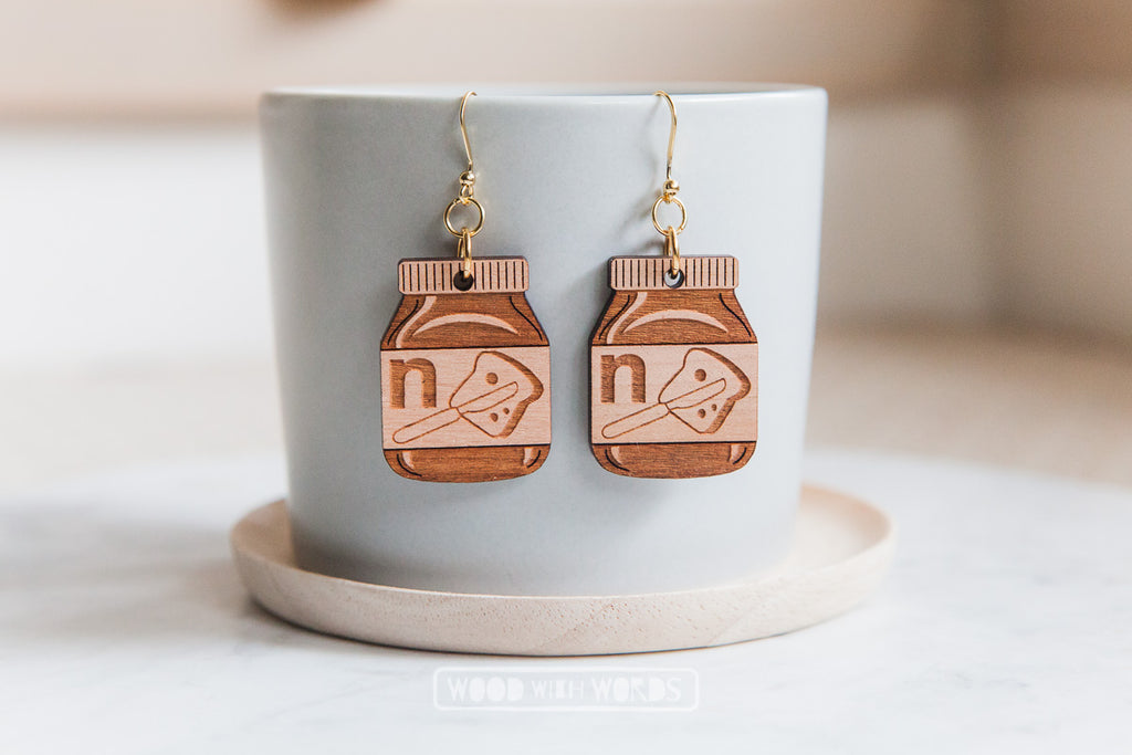 Chocolate Spread Wooden Dangle Earrings - Wood With Words