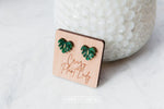 Heart Monstera Stud Earrings - Wood With Words