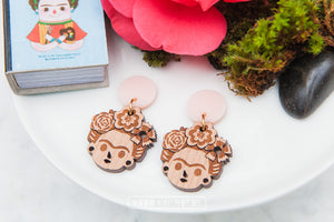 Frida Stud Dangle Earrings - Wood With Words