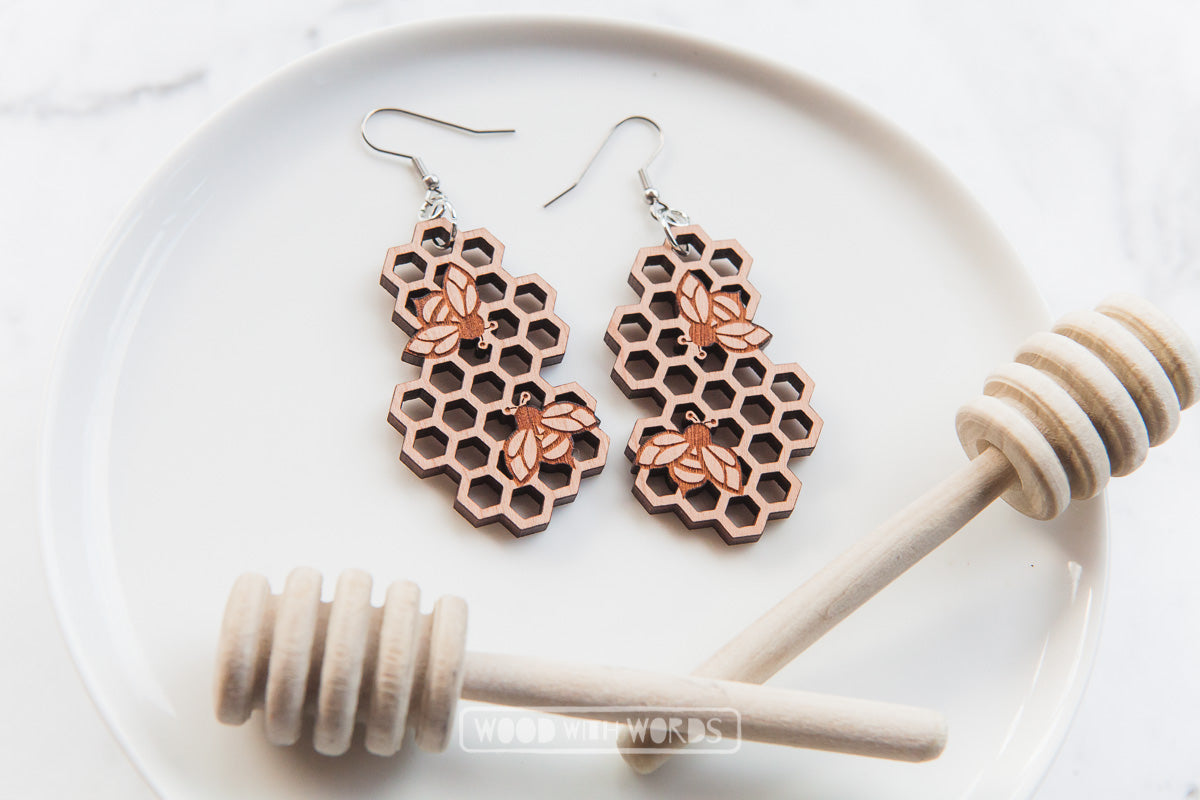 Honeycomb Bee Wooden Dangle Earrings - Wood With Words