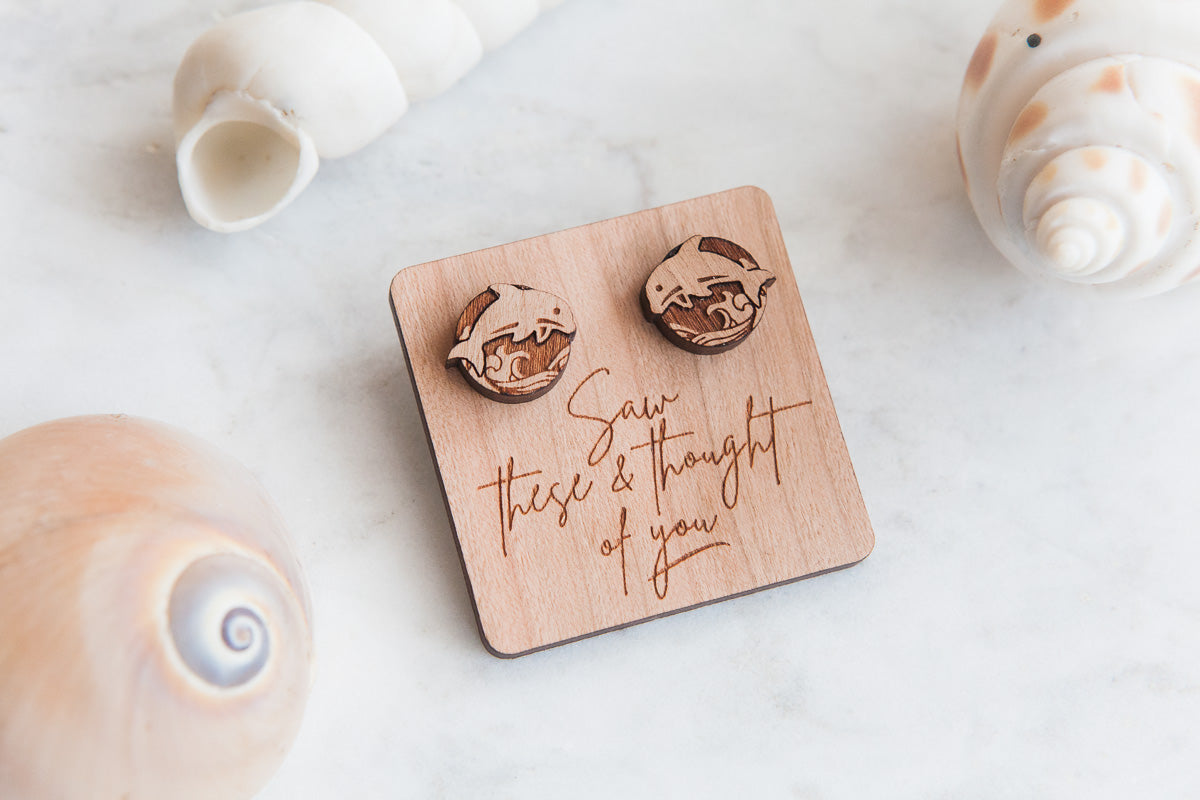 Dolphin Wooden Stud Earrings - Wood With Words
