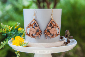 Kangaroo Galah Dangle Earrings - Wood With Words