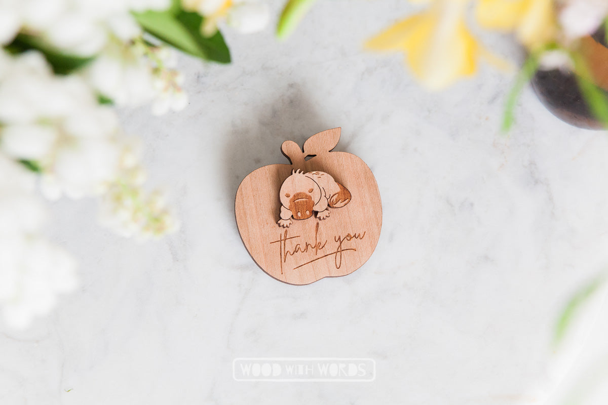Platypus Wooden Pin - Wood With Words