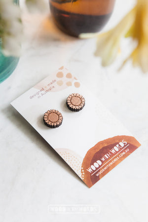 Sunflower Wooden Stud Earrings - Wood With Words