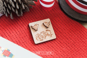 Christmas Robin Wooden Stud Earrings - Wood With Words