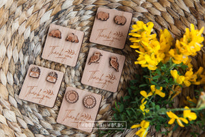 Thank You Wooden Gift Tag (choose your own studs) - Wood With Words