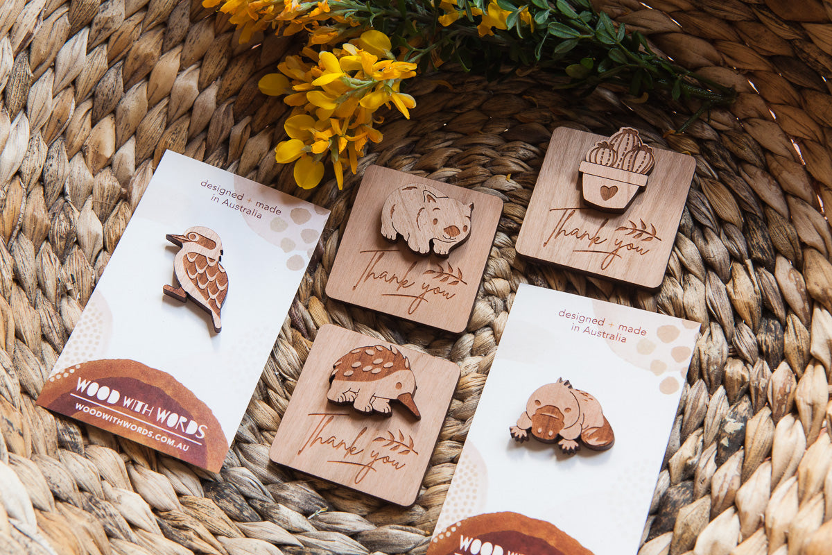 Wooden Pins With Message Tags - Wood With Words
