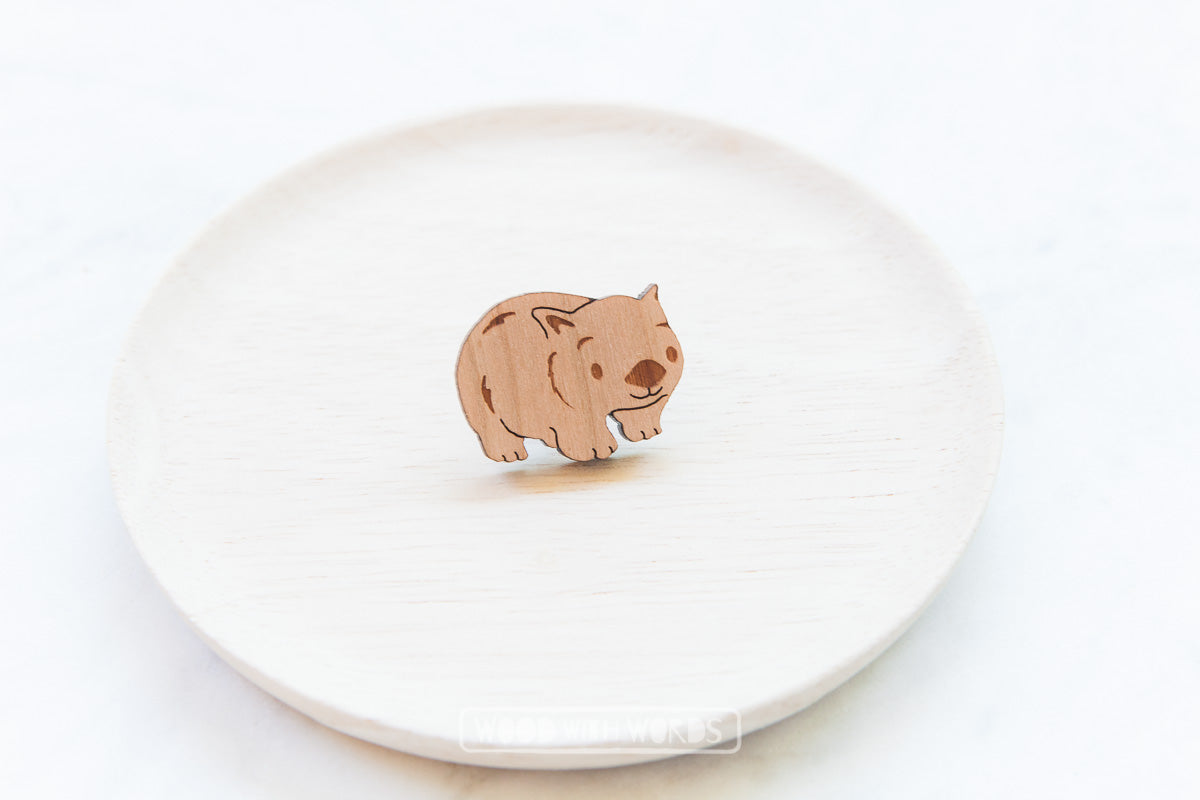 Wombat Wooden Pin - Wood With Words