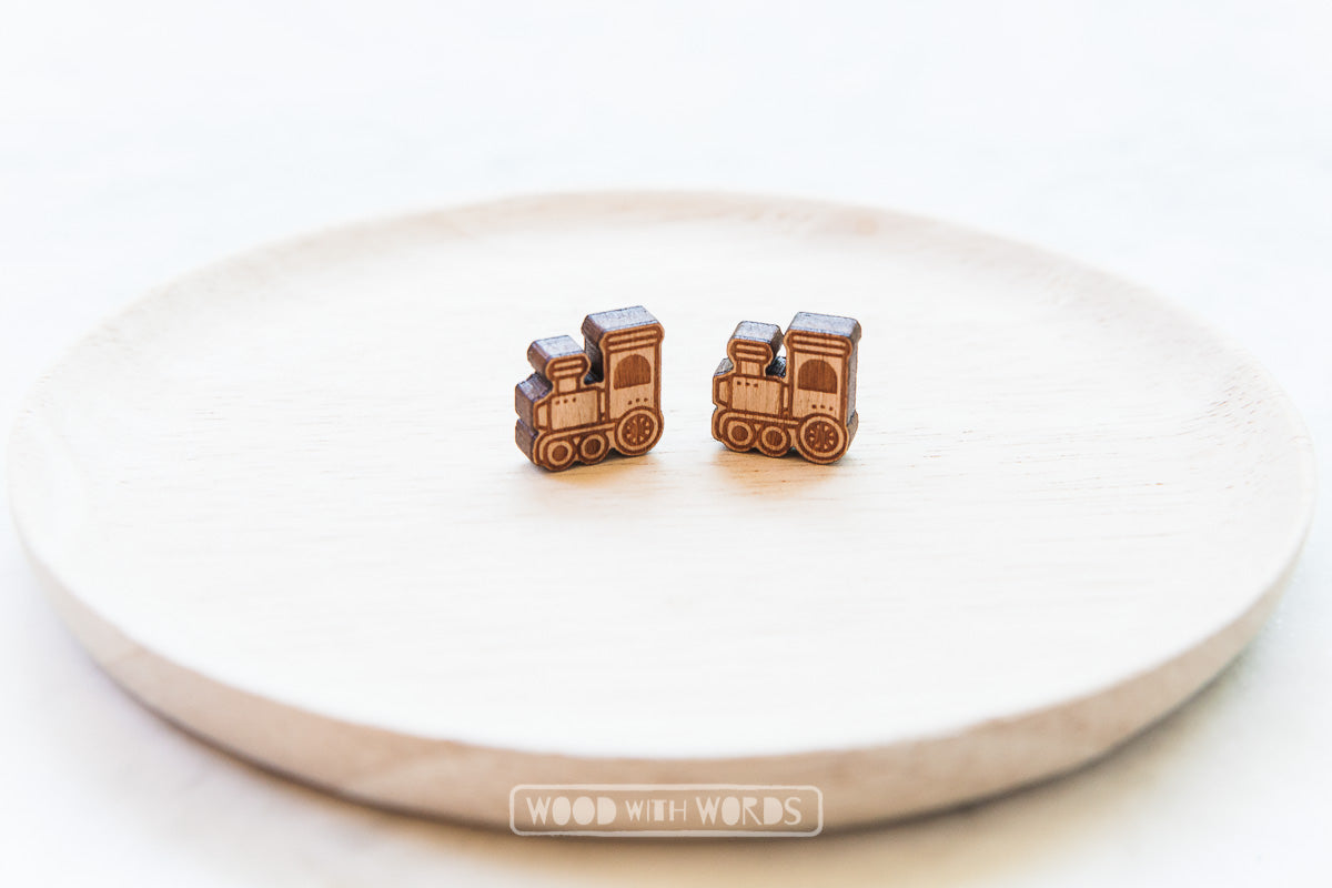Steam Train Wooden Stud Earrings - Wood With Words