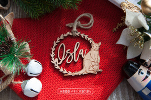 Kangaroo Australian Wildlife Ornament - Assorted Names - Wood With Words