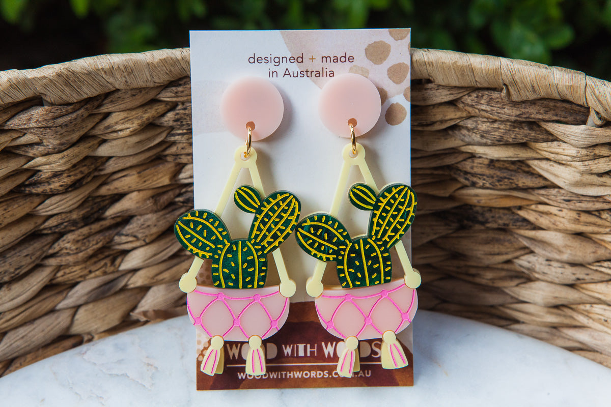 Macrame Cactus Stud Dangle Earrings - Wood With Words