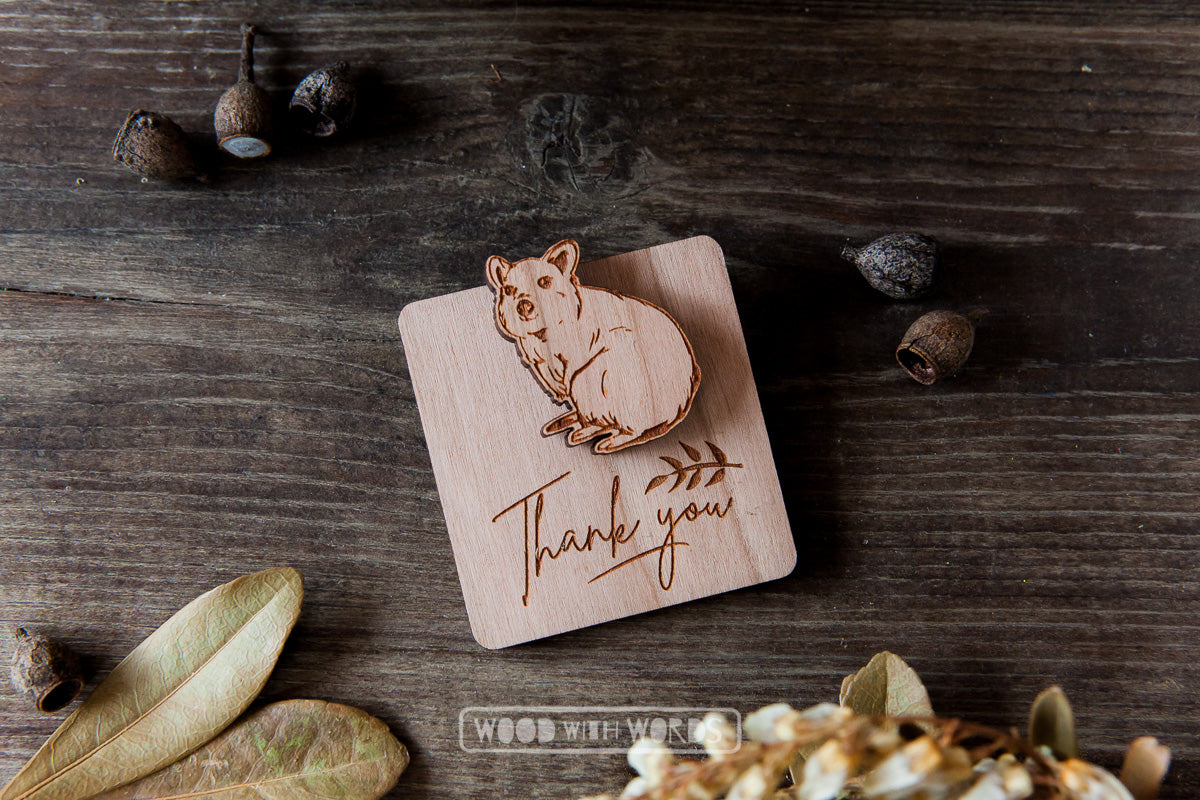 Quokka Wooden Pin - Wood With Words