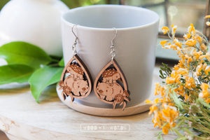Wombat Echidna Dangle Earrings - Wood With Words