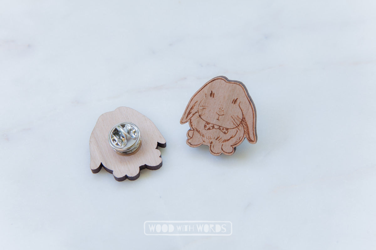 Lop Bunny Wooden Pin - Wood With Words