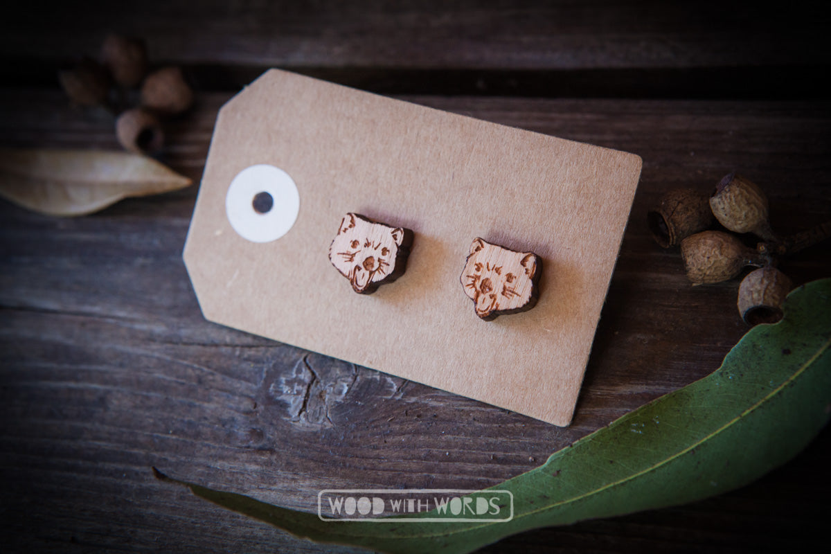 Australian Wildlife Series Wooden Stud Earrings - Wood With Words