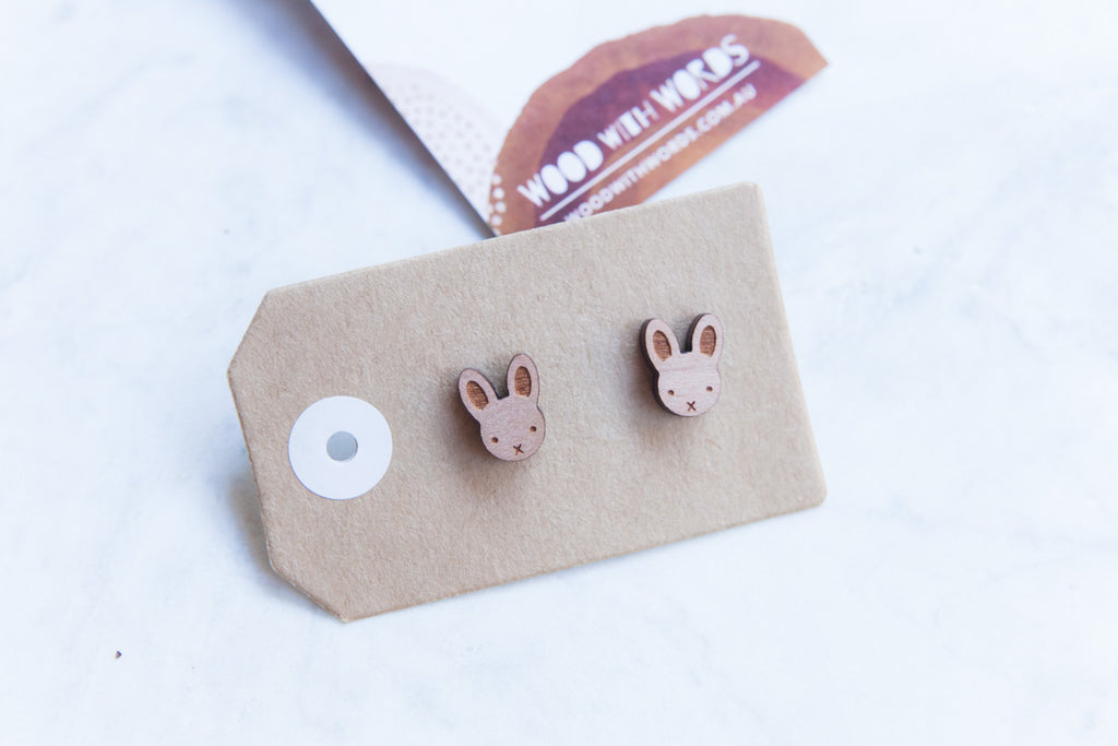 Bunny Rabbit Wooden Stud Earrings - Wood With Words