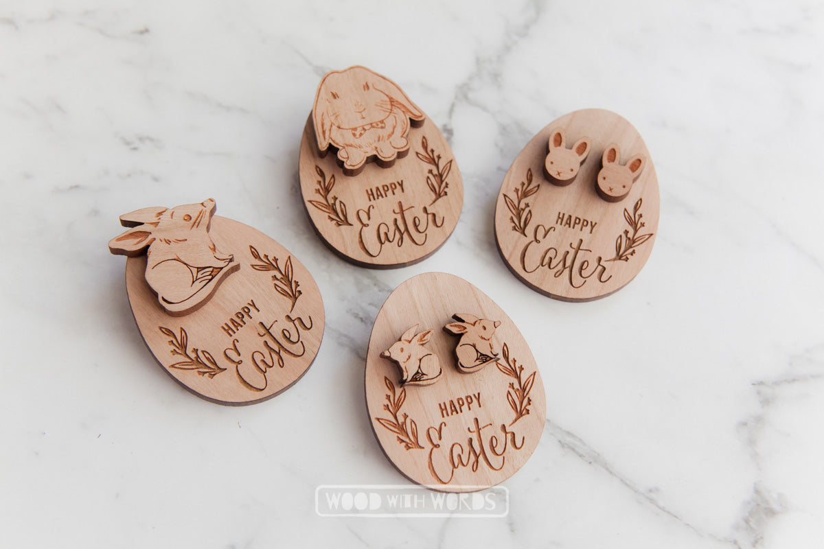 Easter Pin with Happy Easter gift tag - Wood With Words