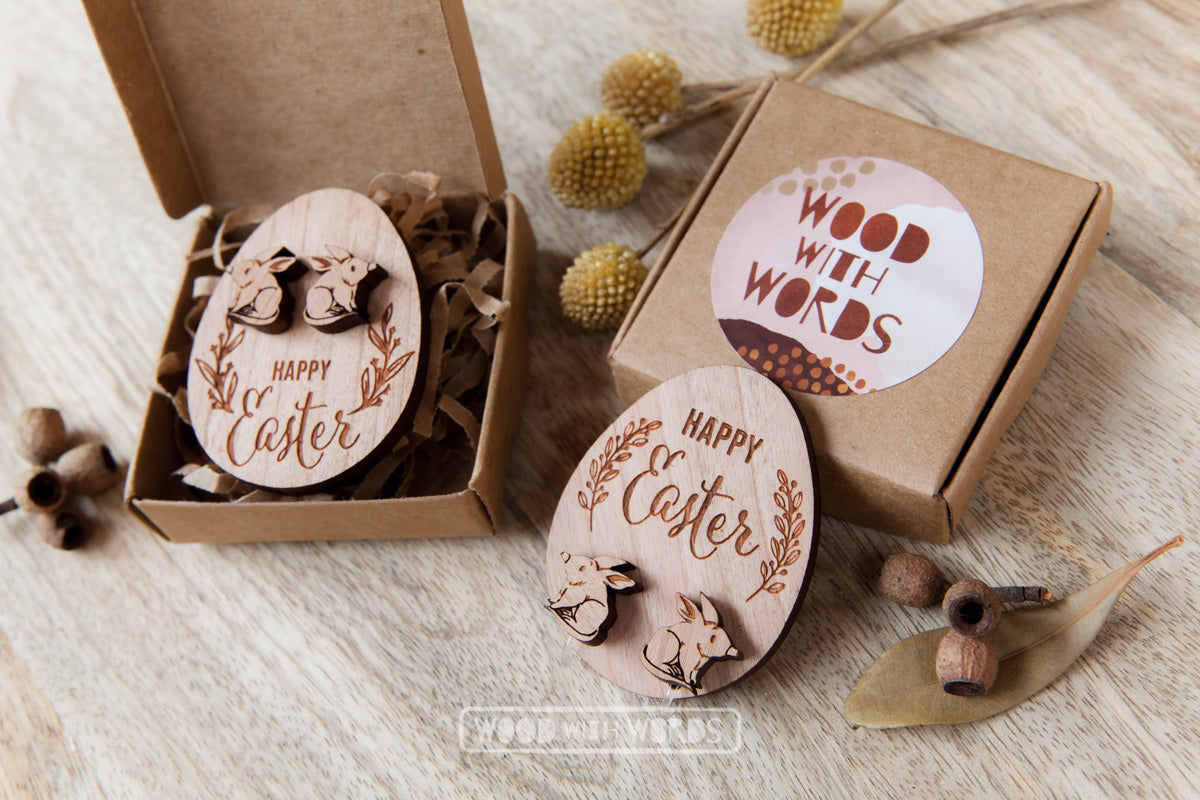 Clip On Bilby Wooden Stud Earrings - Wood With Words