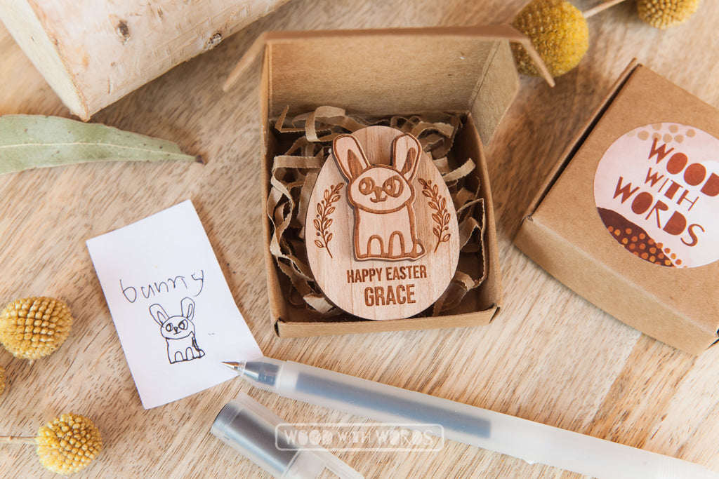Draw your own - Easter Bunny (or Bilby) Pin Set - Wood With Words